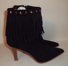 Opera Made Italy Black Suede Fringe Leather Western Boots Size US 8 UK 39 Studs