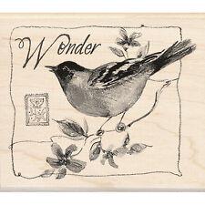 WONDER BIRD Rubber Stamp 60-00670 Inkadinkado animal flower Susan Winget branch