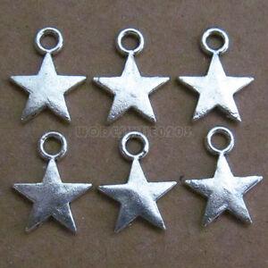50pc Tibetan Silver Charm Star Bead Accessories Jewelry Findings Wholesale B091P
