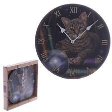 Wanduhr Wahrsager Katze 30cm Bilderuhr Uhr rund Motivuhr Deko Magie Fotouhr NEU