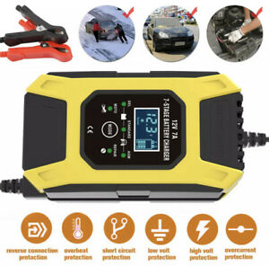 Automatic Intelligent Motorcycle Car Battery Charger 12V LCD Smart Pulse Repair
