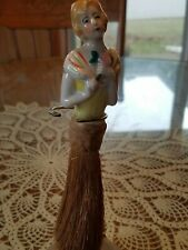 """New listing Antique Porcelain Young Lady 7.5"""" Half Doll Whisk Broom Brush Japan"""
