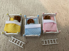 Calico Critters Lot of 3 Lab Puppy Dogs Triplets Babies with Bunk Beds