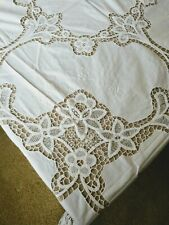 "Vintage White Embroidered Battenburg Lace 72"" Square Tablecloth with 8 Napkins"