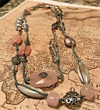 SILPADA N2191 PINK SOAPSTONE GRAY CORD STRLING SILVER LONG NECKLACE New Was $116