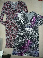Lot of 2 Motherhood & Duo Maternity v-neck polyester print dresses Size S