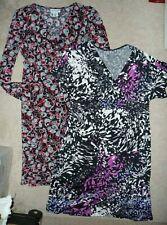 Lot of 2 Motherhood & Duo Maternity v-neck polyester print dresses Size S