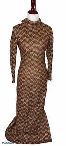 UK10 Bronze Maxi Dress Bronze Robe Vintage Robe Vintage Maxi Dress Maxi Dress 60s Vintage Evening Dress Bronze Dress 1960s Dress
