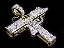 "Men's 10K Yellow Gold Genuine Diamond Uzi Gun Pendant Charm 4/5 CT 1.5"""