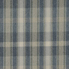 C643 Blue Green And Ivory, Large Plaid Country Upholstery Fabric By The Yard