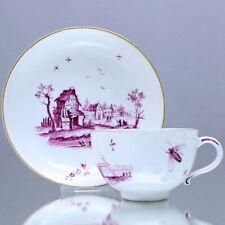 Hoechst um 1780: Teetasse mit Landschaft und Insekten, Purpur Camaieu Tasse cup