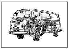 VW Camper Van Volkswagen Bus Poster  CAMPER VAN Drawing  **Free Delivery**