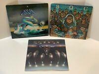 Classic Rock 3 Vinyl LP Lot Asia Blue Oyster Cult Fire of Unknown Origin Kansas
