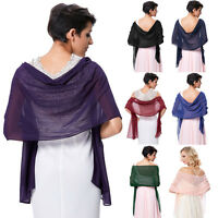 Womens Ladies Sheer Solid Color Chiffon Shawl Wrap Evening Dress Scarf Stole UK