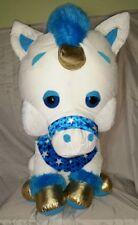 New Giant 32 Inch Stuffed Unicorn White Blue Gold
