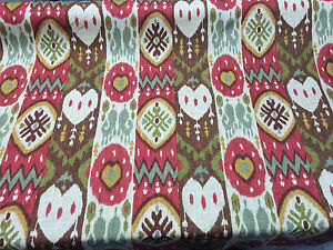 Richloom Tribal Red Green Gold Fabric By the Yard