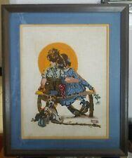 Vintage Framed Finished Norman Rockwell Needlepoint Crewel Spooner's or Sunset