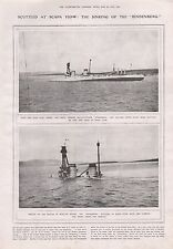 """1919-VINTAGE PRINT- SCUTTLED AT SCAPA FLOW, SINKING OF THE """"HINDENBURG"""""""