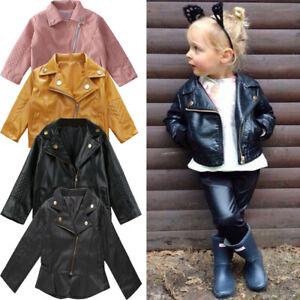 Girls Boys Faux Leather Coat Jacket Kids Cool Baby Biker Zip Up Outwear Jeckets