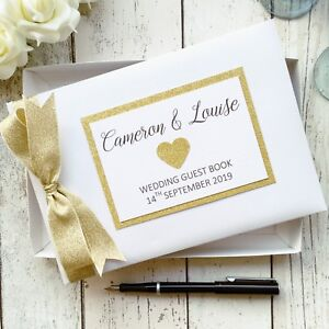 PERSONALISED WEDDING GUEST BOOK ~ GLITTER HEART CHOICE OF GOLD/SILVER/ROSE GOLD