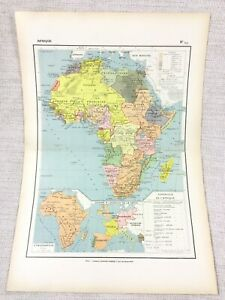 1888 Antique Map of Africa Ethnographic Foreign Colonies FRENCH 19th Century