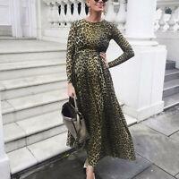 Women Pregnants Maternity Photography Props Long Sleeve Print Leopard  Dress