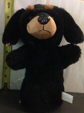 "Plush Puppet, Black & Brown Dog, (Dachsund) Approx. 8"" tall"