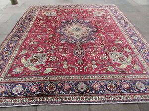 Vintage Hand Made Traditional Oriental Wool Red Large Square Carpet 333x296cm