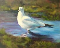 Norma Wilson Original Oil Marsh Seagull Birds Coastal Decor Decor Painting Art