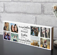 Wooden Photo Block Personalised Best Friend Quote Friendship Plaque Gift Family