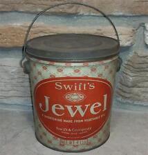 Antique Swift's Jewel 4lb Shortening Tin Bucket Pail Can w/Handle Chicago Lard