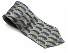 BILL BLASS NECK TIE BLUES Gold Circular Wheel Shape Pattern 100% Silk Necktie