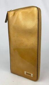 Tumi Zip Around Leather Wallet, Passport, ID and Document Holder Clutch Gold