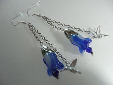Vintage Style Bristol Blue Hummingbird Crystal Glass Flower Silver Long Earrings