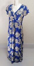 Dickins & Jones blue white floral cotton blend V neck Long maxi flare dress 12
