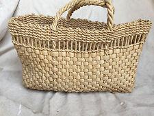 Simply Elegant Vintage Raffia Straw Woven Boho Market Tote Bag Purse