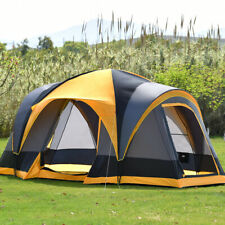8 Person Family Camping Tent Hiking Beach Canvas Swag Dome Waterproof 2 Doors