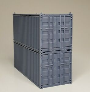 HO Scale Shipping Container Train Freight Car - Piko Stacking -  Set of 2 - Gray