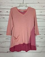 LOGO Lori Goldstein QVC Women's Sz S Small Pink Cute Soft Spring Tunic Top Shirt
