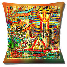 Egyptian Theme Cushion Cover 16 inch 40cm Tutankhamun Mask Pharaoh Egypt Symbols