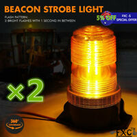 2x 30 LED Amber/Yellow 15W Emergency Warning Flashing Safety Strobe Beacon Light