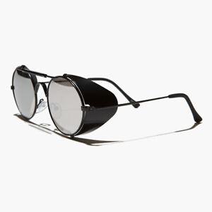 Black Metal Steampunk Sunglass with Folding Side Shields Mirror Lens - Bram