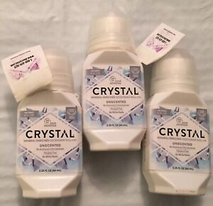 LOT OF 3 Crystal Mineral Deodorant Roll On 2.25 Oz Unscented Vegan All Natural
