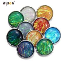 10pcs 18mm Snap Button Crystal Texture Acrylic Charms For 20mm Snap Jewelry 1034
