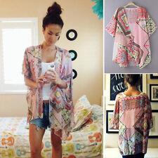 Fashion Women's Chiffon Blouse Short Sleeve Shawl Kimono Cardigan Cover up Tops