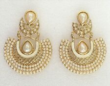Designer Indian Ethnic Bollywood Gold Plated Pearls Wedding Jewelry Earrings