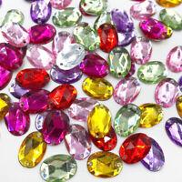 100pcs Mix Oval Rhinestones Flat Back Acrylic Gems Crystal Stones Sewing Beads