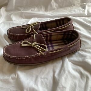 LL BEAN Women's Leather Flannel Lined Moccasin Slippers 301104 Size 11