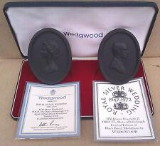 Wedgwood Nero Basalto Medaglioni-Royal NOZZE D'ARGENTO 1972-Boxed-LTD EDN