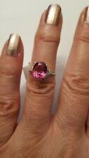 3.00 CT GENUINE PINK TOPAZ & (20 PCS) DIAMOND 10KT SOLID WHITE GOLD RING Sz 7